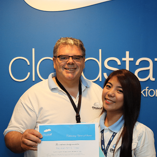 certifocate of appreciation, 6 years at Cloudstaff
